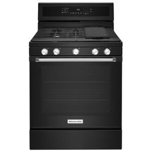KitchenAid30-Inch 5-Burner Gas Convection Range Black