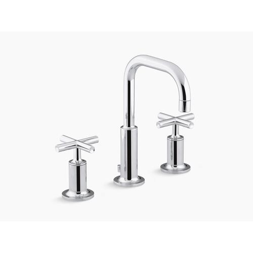 Vibrant Brushed Moderne Brass Widespread Bathroom Sink Faucet With Low Cross Handles and Low Gooseneck Spout