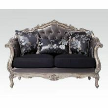 ACME Chantelle Loveseat w/3 Pillows - 51541 - Silver Gray Silk-Like Fabric & Antique Platinum
