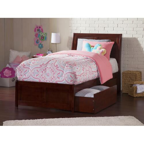 Portland Twin XL Bed with Matching Foot Board with 2 Urban Bed Drawers in Walnut