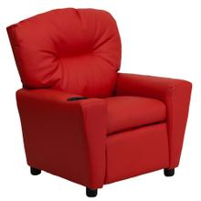 Contemporary Red Vinyl Kids Recliner with Cup Holder