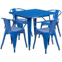 31.5'' Square Blue Metal Indoor-Outdoor Table Set with 4 Arm Chairs