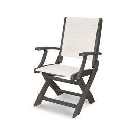 Coastal Folding Chair in Vintage Coffee / Parchment Sling