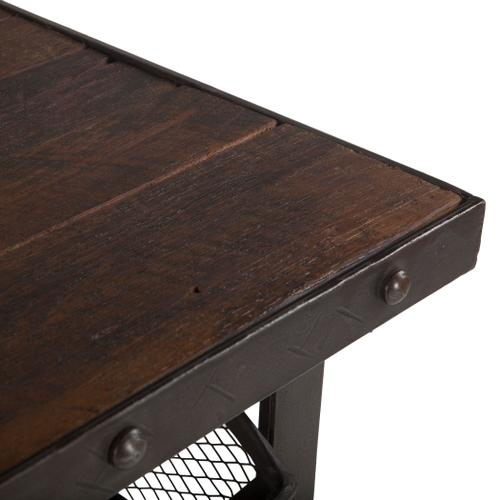 """Industrial Teak 36"""" Reclaimed Wood Utility Cart Table"""