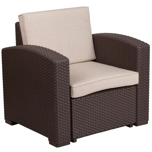 Chocolate Brown Faux Rattan Chair with All-Weather Beige Cushion