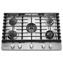 """See Details - 30"""" 5-Burner Gas Cooktop with Griddle - Stainless Steel"""