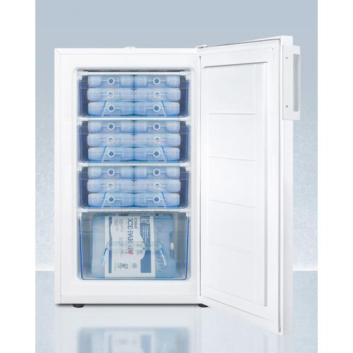 """20"""" Wide Commercial All-freezer for Built-in Use, Manual Defrost With A Lock and Nist Calibrated Thermometer"""