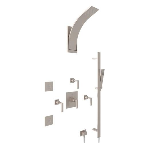 Satin Nickel WAVE THERMOSTATIC SHOWER PACKAGE with Wave Metal Lever