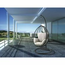 ACME Simona Patio Swing Chair with Stand - 45030 - Beige Fabric & Black Wicker