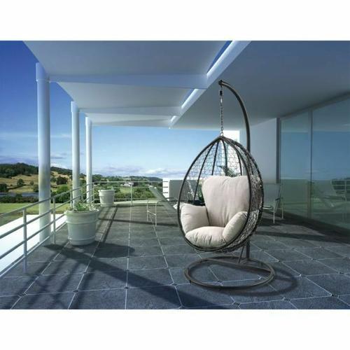 ACME Simona Patio Swing Chair with Stand - 45030 - Beige Fabric & Black Wicker