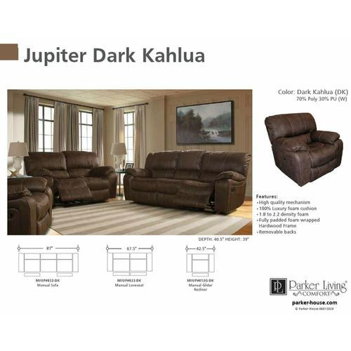 Parker House - JUPITER - DARK KAHLUA Manual Sofa