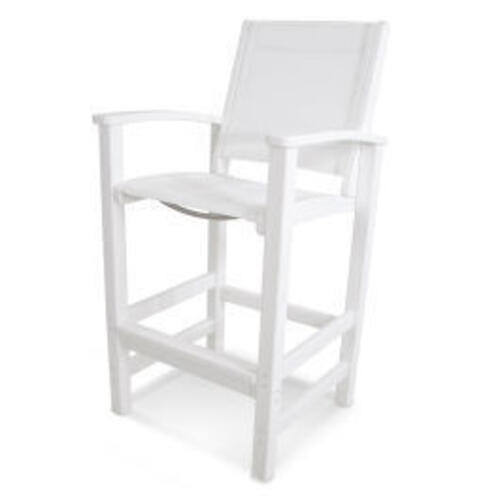 Polywood Furnishings - Coastal Bar Chair in White / White Sling