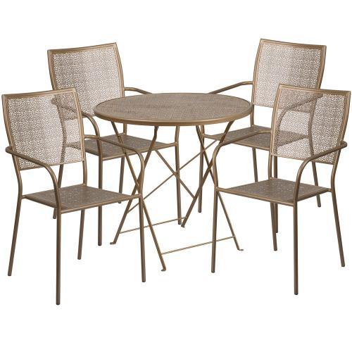 30'' Round Gold Indoor-Outdoor Steel Folding Patio Table Set with 4 Square Back Chairs