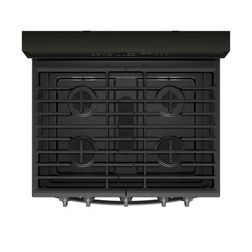 5.8 cu. ft. Smart Freestanding Gas Range with EZ-2-Lift Grates Fingerprint Resistant Black Stainless