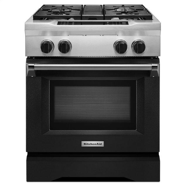 Kitchenaid 30'' 4-Burner Dual Fuel Freestanding Range, Commercial-Style Imperial Black