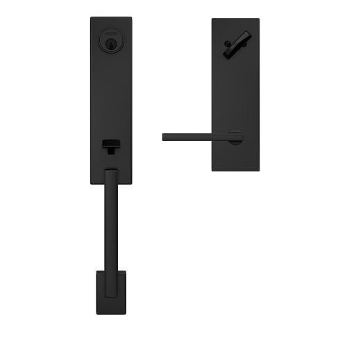 Custom Century 3/4 Trim Single Cylinder Handleset with Latitude Lever - Matte Black