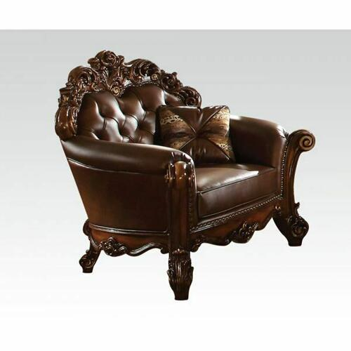 ACME Vendome Chair w/1 pillow - 52003 - Cherry PU