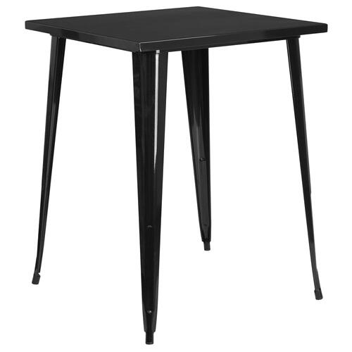 31.5'' Square Bar Height Black Metal Indoor-Outdoor Table