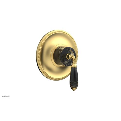 Phylrich - VALENCIA - Thermostatic Shower Trim, Black Marble Lever Handle TH338C - Burnished Gold