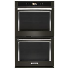 """Smart Oven+ 30"""" Double Oven with Powered Attachments and PrintShield™ Finish Black Stainless Steel with PrintShield™ Finish"""