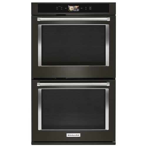 """KitchenAid - Smart Oven+ 30"""" Double Oven with Powered Attachments and PrintShield™ Finish Black Stainless Steel with PrintShield™ Finish"""