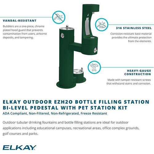 Elkay Outdoor ezH2O Bottle Filling Station, Bi-Level Pedestal with Pet Station NonFilter, NonRefrige FreezeResist Beige