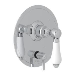 Polished Chrome Italian Bath Pressure Balance Trim With Diverter with White Porcelain Lever Product Image