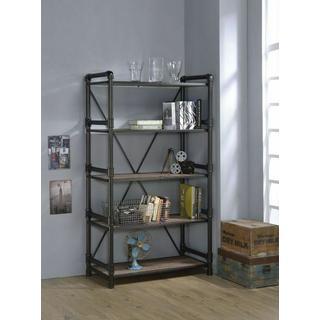 ACME Caitlin Bookshelf - 92220 - Rustic Oak & Black