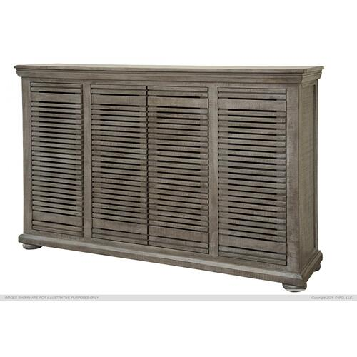 "67"" Console w/4 push doors, Mango wood, gray finish"