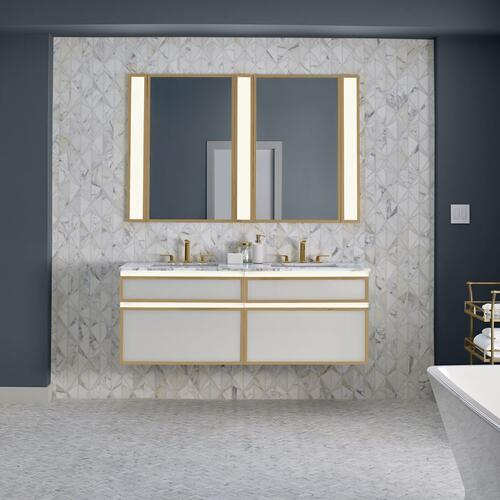 "Profiles 30-1/8"" X 7-1/2"" X 21-3/4"" Modular Vanity In Mirror With Matte Gold Finish and Slow-close Plumbing Drawer"