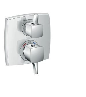 Chrome Thermostatic Trim with Volume Control, Square Product Image