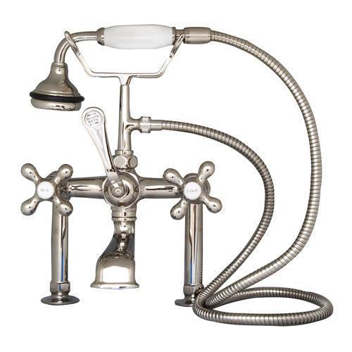 """Clawfoot Tub Filler - Elephant Spout, Hand Held Shower, 6"""" Elbow Mounts - Cross Handles / Polished Nickel"""