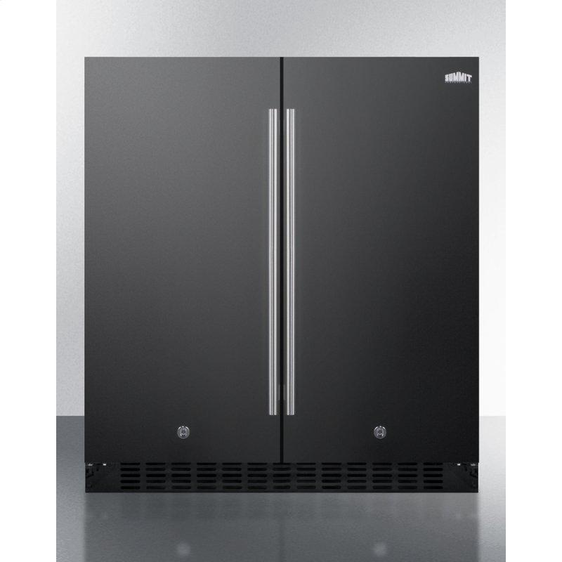 Frost-free Side-by-side Refrigerator-freezer for Built-in or Freestanding Use In Black Finish With Locks, Stainless Steel Handles, Door Storage, and Digital Controls