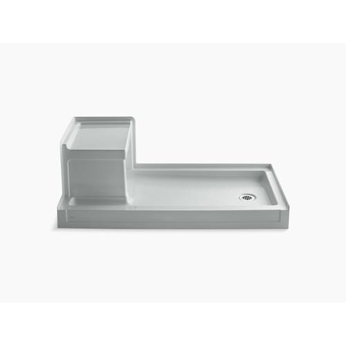 """Ice Grey 60"""" X 32"""" Single Threshold Right-hand Drain Shower Base With Integral Left-hand Seat"""