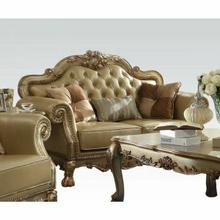 ACME Dresden Loveseat w/3 Pillows - 53161 - Bone PU & Gold Patina