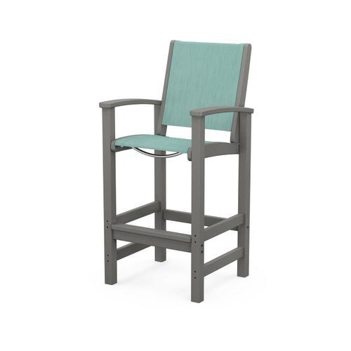 Polywood Furnishings - Coastal Bar Chair in Slate Grey / Aquamarine Sling
