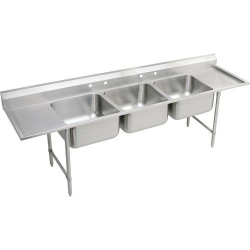 """Elkay Rigidbilt Stainless Steel 97-1/4"""" x 29-3/4"""" x 14"""" Floor Mount, Triple Compartment Scullery Sink w/ Drainboard"""
