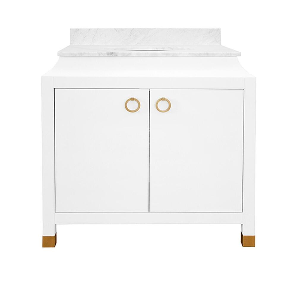 Bath Vanity In Matte White Lacquer With Antique Brass Ring Hardware, White Marble Top, and Porcelain Sink