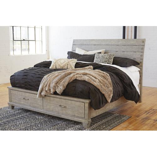 Naydell Cal King Storage Bed Rustic Gray