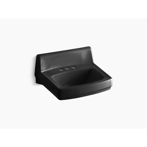 """Black Black 20-3/4"""" X 18-1/4"""" Wall-mount/concealed Arm Carrier Bathroom Sink With 4"""" Centerset Faucet Holes"""