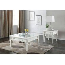 ACME Adalyn Coffee Table - 80530 - White & Clear Glass