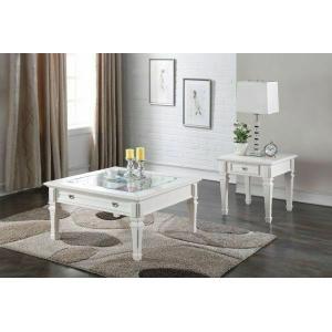 Acme Furniture Inc - ACME Adalyn Coffee Table - 80530 - White & Clear Glass
