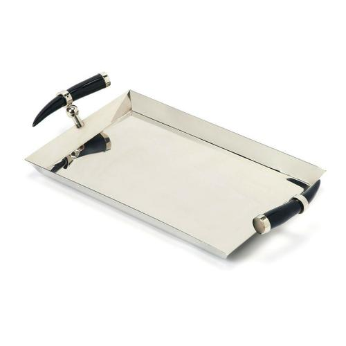 Serve cocktails and hors d'oeuvres at your next party on this rectangular stainless steel serving tray. Genuine horn handles give this modern tray a unique, stylish appearance.