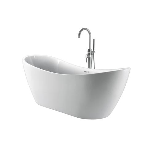 "Nyx 72"" Acrylic Double Slipper Tub with Integral Drain and Overflow - White Powder Coat Drain and Overflow"