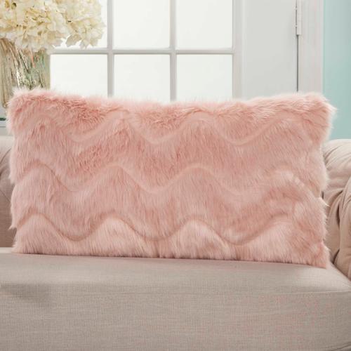 "Faux Fur Vv056 Blush 14"" X 24"" Lumbar Pillow"