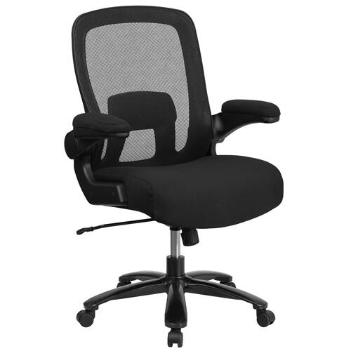 Big & Tall 500 lb. Rated Black Mesh Executive Swivel Chair with Fabric Seat and Adjustable Lumbar
