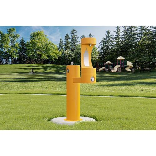 Elkay - Elkay Outdoor EZH2O Bottle Filling Station Bi-Level Pedestal, Non-Filtered Non-Refrigerated Yellow