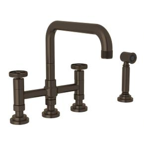 Campo Deck Mount U-Spout 3 Leg Bridge Faucet with Sidespray - Tuscan Brass with Industrial Metal Wheel Handle