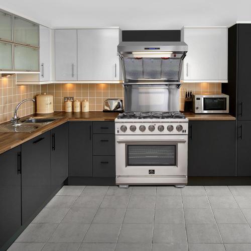 """Capriasca - Titanium Professional 36"""" Freestanding Gas Range"""