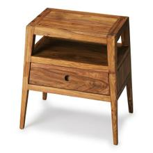 The shapely, tapered design of the Stockholm side table will impress your guests. The two shelf surfaces offer display space while the drawer with a unique cutaway pull gives you a place to tuck away your needs.